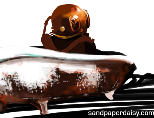 a deep-sea diver sitting in a rusty bathtub by sandpaperdaisy