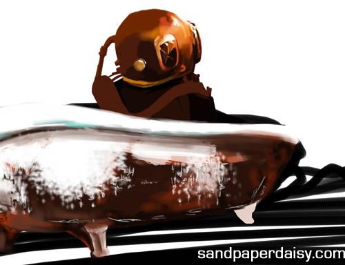 a deep-sea diver sitting in a rusty bathtub by sandpaperdaisy