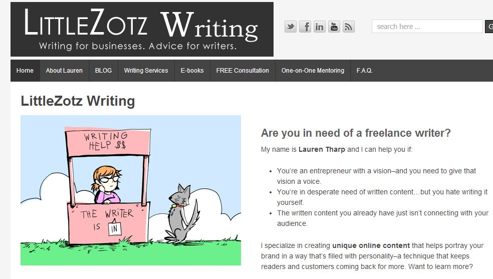 landing page for littlezotz writing with art by ramiro roman jr