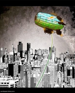 A colorful blimp depicting a field of flowers hovers above a dirty, impersonal colorless city. Environmental statement.