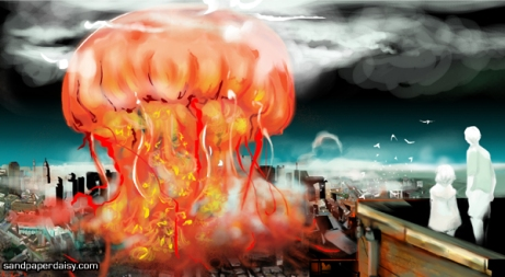 a bright and glorious titanic jellyfish fills the sky, bringing either destruction or new life and vitality to the city below as two children placidly watch.
