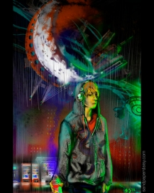 A graffiti spraypaint tagger boy in a dragon hoodie stares off into the rain while a fantastic graffiti moon hovers behind him.