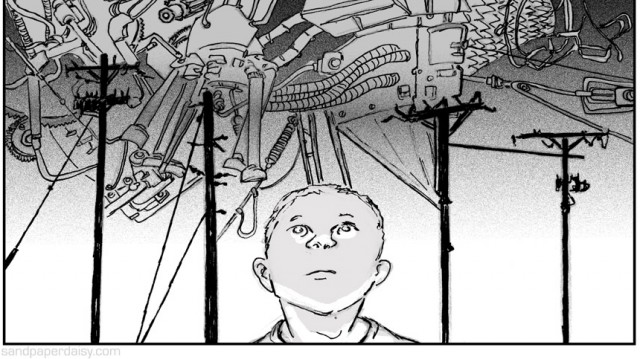 a boy looks up at a monstrous machine covering the sky