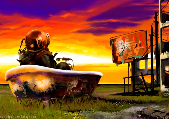 A deep-sea diver in an old rusted tub in a dry meadow looks at a dilapidated billboard of a mermaid and dreams of the oceans he once knew.