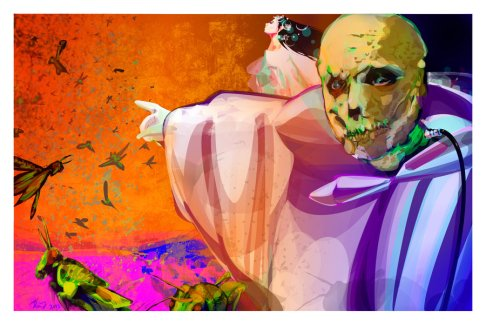 the abominable dr. phibes gestures ominously toward the plague of locusts he has unleashed on an unsuspecting mankind, his lovely assistant vulnavia in the background