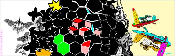 Bone and syringe butterflies merge into black polygons which in return become flying lizards. An homage to Escher's Metamorphoses.