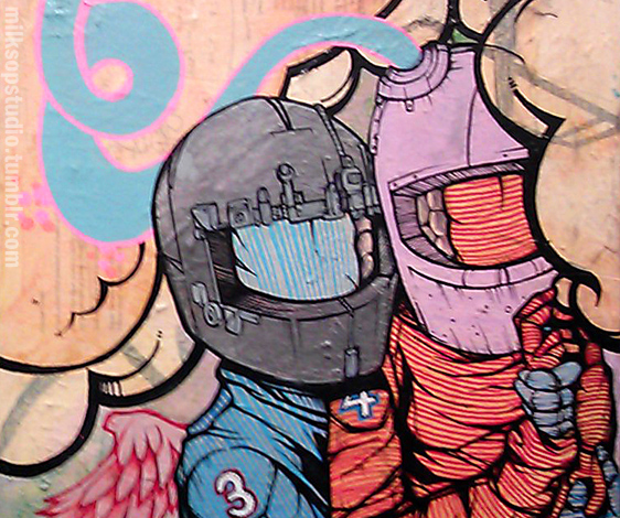 Two lovers in motorcycle helmets painted in a graffiti style