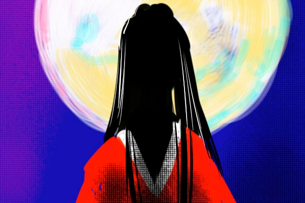 a more sinister portrayal of Kaguya Hime from The Bamboo Cutter's Tale