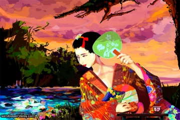 Beautiful woman in a kimono looking at her reflection in the water, that of a fox demon.