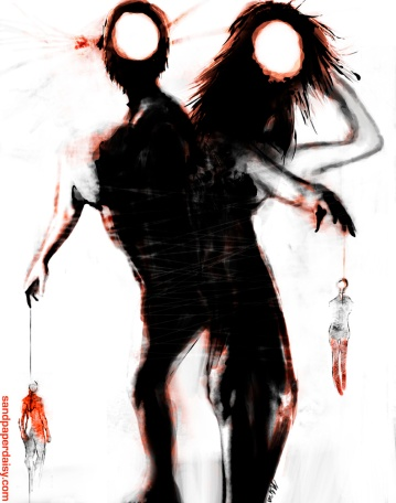 Adam and Lilith back to back, a monstrous and frightening creature reprepresenting the origins of mankind.