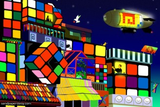 Two lovers echo the Balcony Scene of Romeo and Juliet against the bright and whimsical backdrop of a city composed of Rubiks Cubes.