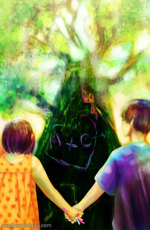 two children standing in front of the tree upon which they pledged their love in chalk