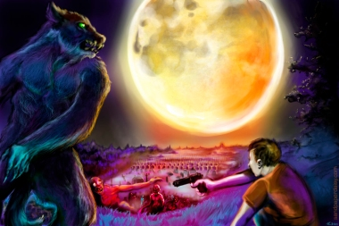Facing off against a zombie horde with nothing but a gun and a werewolf companion, against a huge swollen full moon shining over the dead valley.