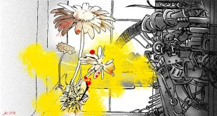 A monstrous flower connecting with an equally monstrous machine