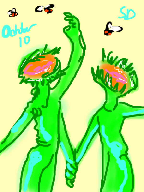 two plant people with venus flytrap heads, reaching up to catch flies