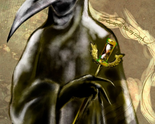 a plague doctor callously ignores a pleading victim tugging at his waxed robes.