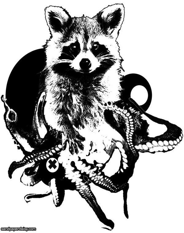 tentacle raccoon photocollage