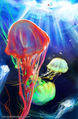 beautiful jellyfish sway in the ocean and dream up at the sunlit world above, mistaking a red kite for one of their own.
