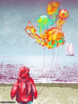 A child in a red raincoat stands on shore and regards a sailboat while holding a bundle of brightly colored floating jellyfish balloons.