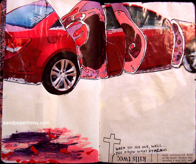 a dissected car filled with human organs hovers above a road cross and an article about a car crash
