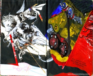 two demons or lords of xibalba emerge from the parts of a car engine, resembling something from a painting by hieronymous bosch