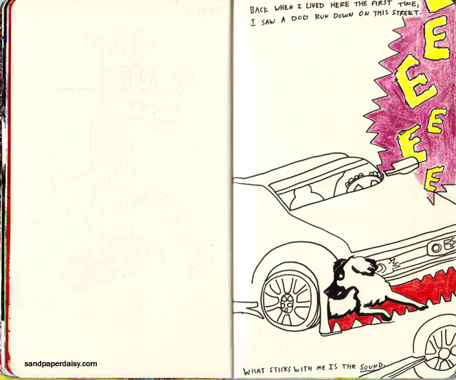 a car chews up a helpless dog in this, one of my most disturbing and vivid childhood memories.