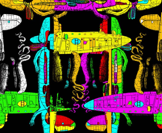 a repeating row of dissected mudpuppies combined with airplane blueprints in bright neon colors