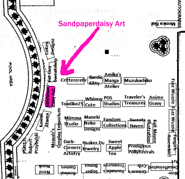 closeup of location of sandpaperdaisy art booth at Evillecon 2014
