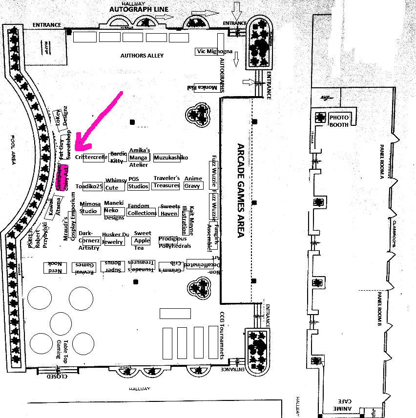 location of sandpaperdaisy art booth at Evillecon 2014
