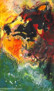 this traditional mixed media print depicts fenris the wolf devouring the sun during ragnarok, the norse end of the world.