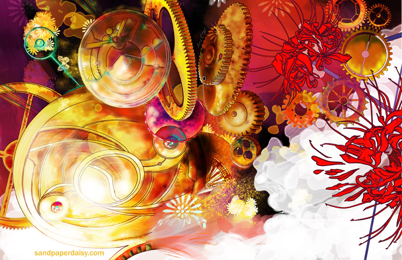 clocks and higanbana abound in this homage to Akemi Homura of Puella Magi Madoka Magika.
