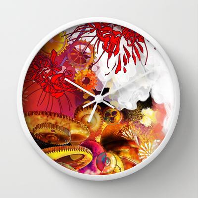 wall clock inspired by Akemi Homura of Puella Magi Madoka Magika