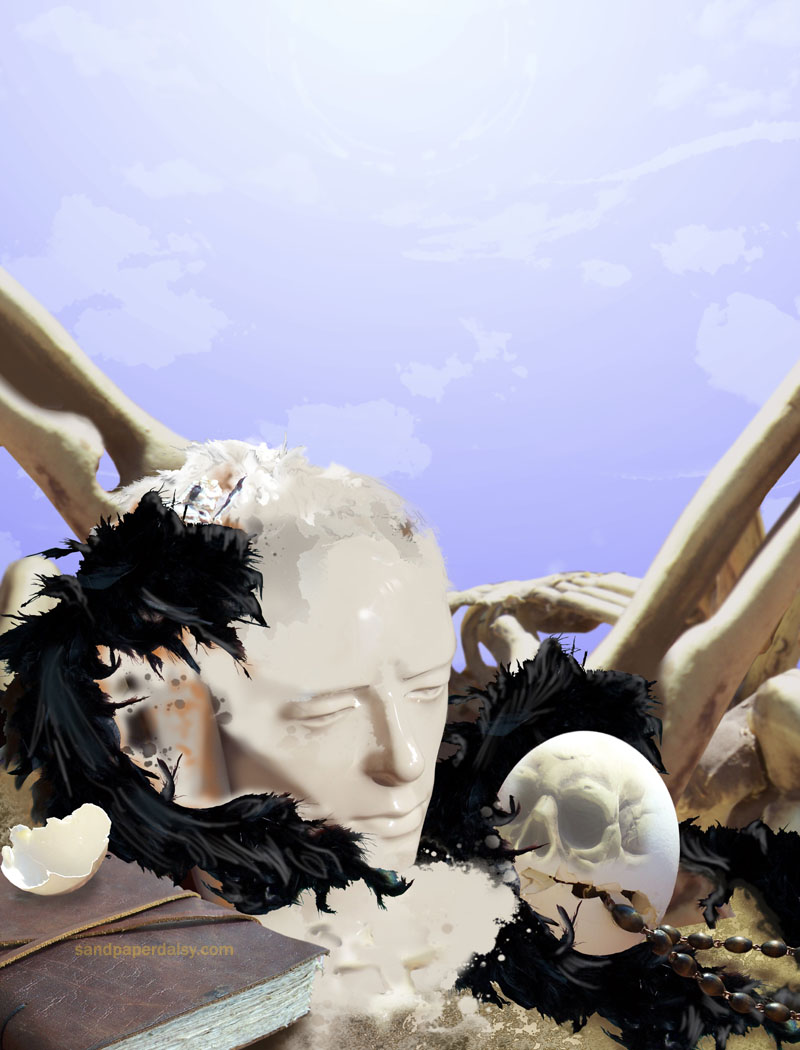in the tradition of the medieval still life with a skull mixed in as a reminder of mortality