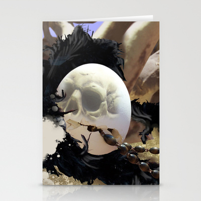 a skull superimposed on a cracked eggshell turned into a piece of unique stationary for the goth in us all.