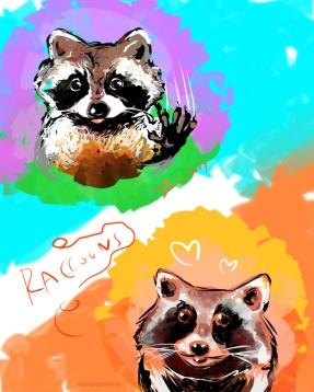 raccoons by sandpaperdaisy