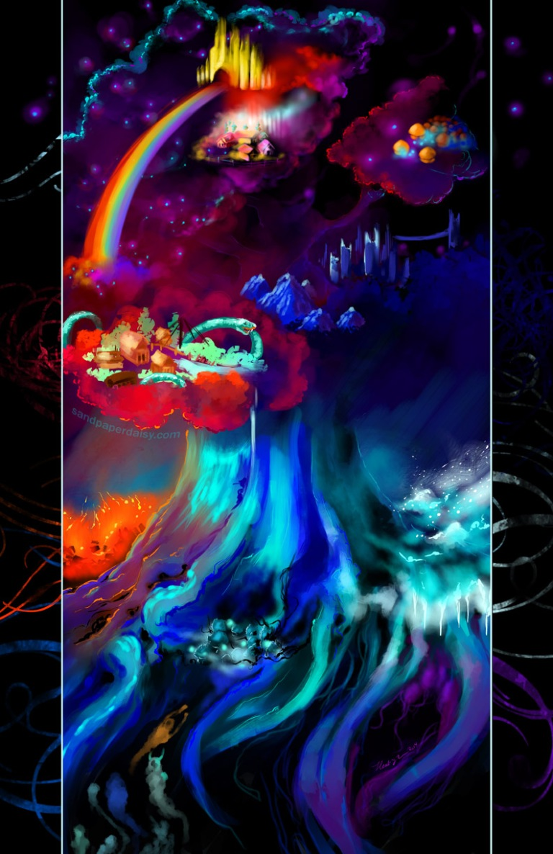 the world tree of Norse Mythology with the nine realms Asgard Vanaheim Alfheim Midgard Jotunheim Svartalfheim Muspelheim Niflyheim and Helheim as well as the rainbow Bierfrost.