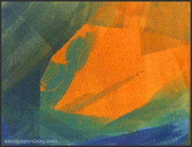 an orange green and blue monoprint created by making patterns on the plexiglass plate with an ink roller.