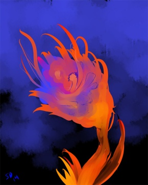 a fire flower flaming against a dark background.