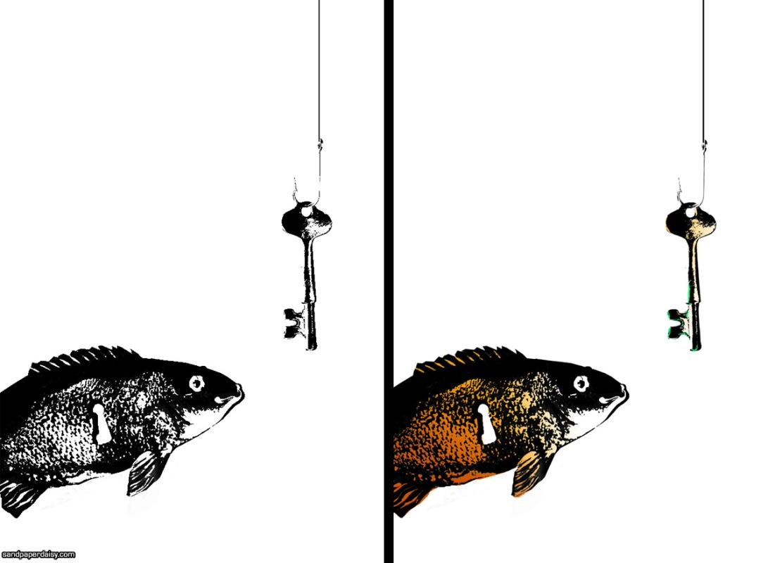 a cute playful fish with a keyhole in its belly is enticed by a key on a hook