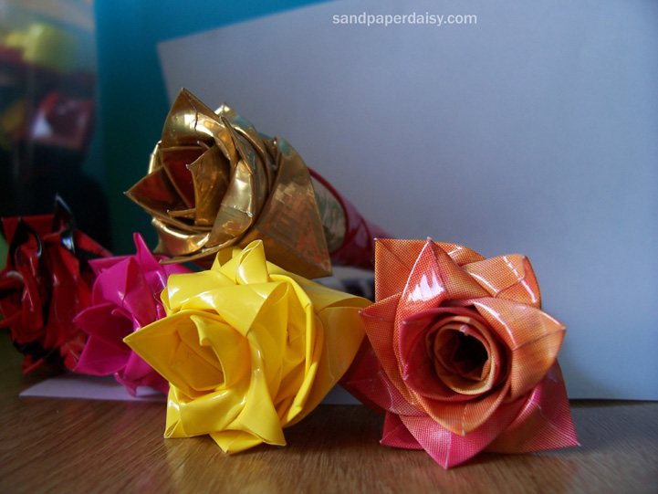 bright and delicate duct tape roses in different colors