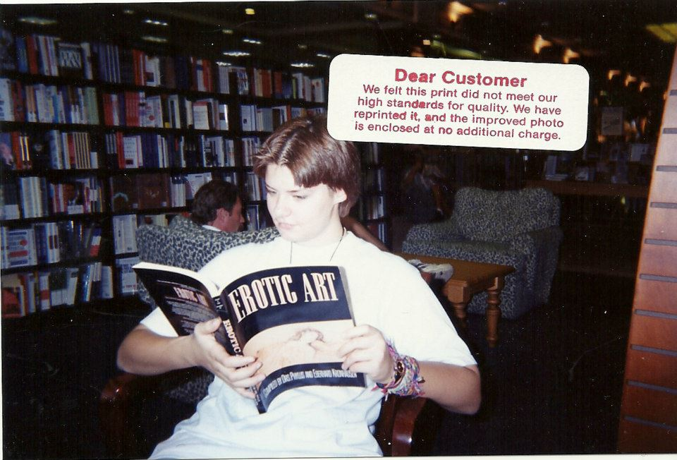 a younger me reading at Barnes and Noble. I haven't changed much.