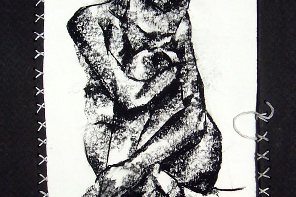a sad woman with a ponytail crumpled up and drawn with an almost rock-like texture using charcoals, surrounded by white stitching