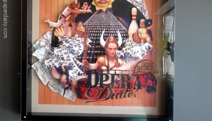 big lebowski and whats opera doc imagery combined in this fanciful paper sculpture