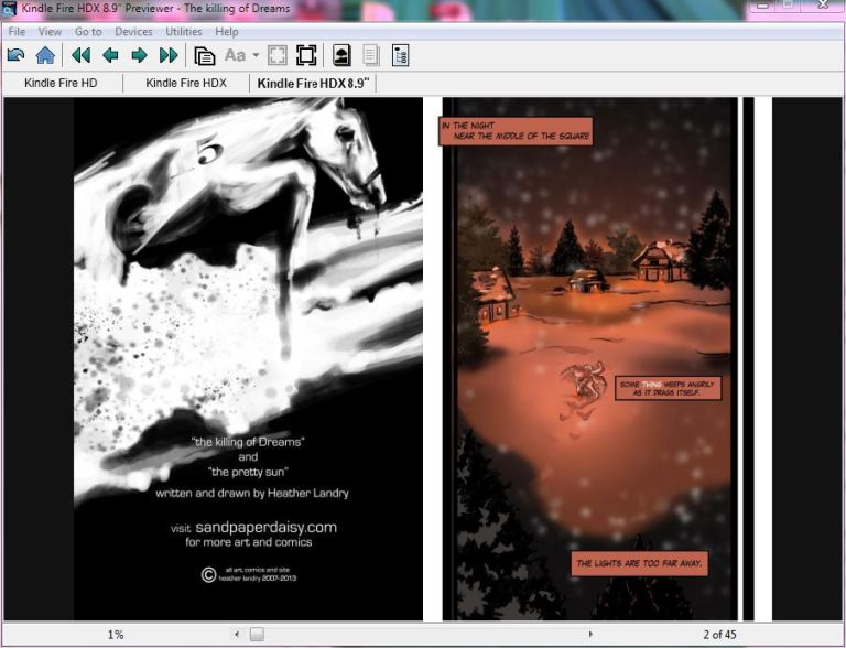 the double page spread on kindle previewer