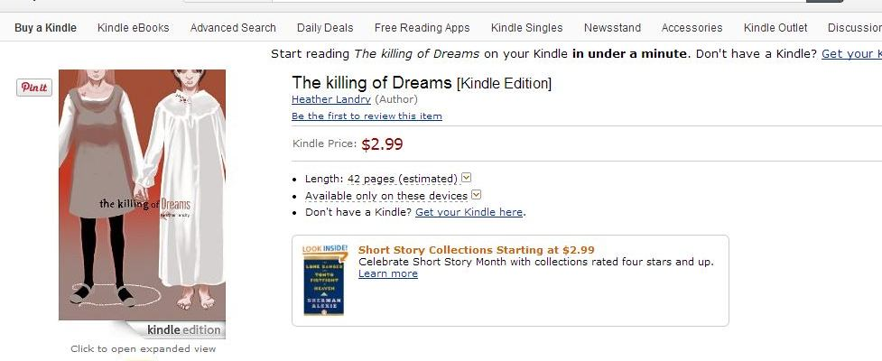 the killing of dreams comic by heather landry is now available on amazon kindle