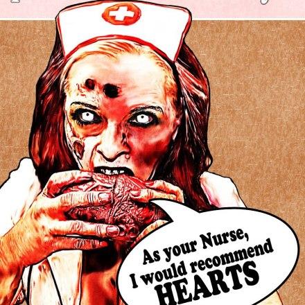 Hearts zombie nurse pinup by Christy Jochum