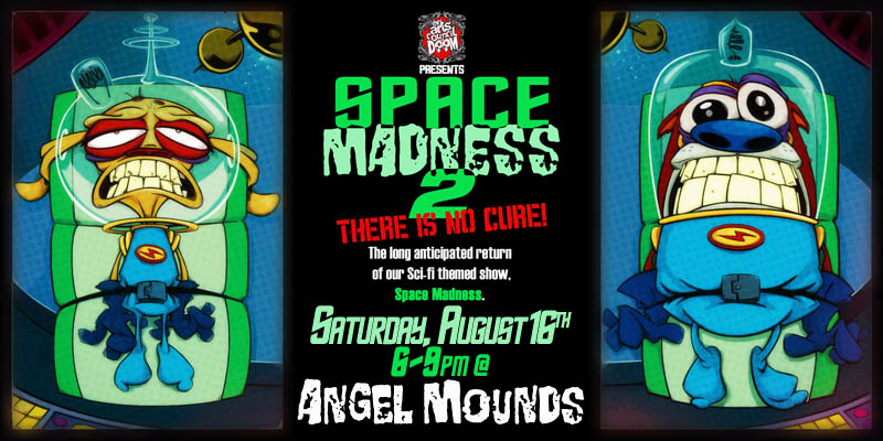 sci-fi space themed group show by the arts council of doom at angel mounds august 2014