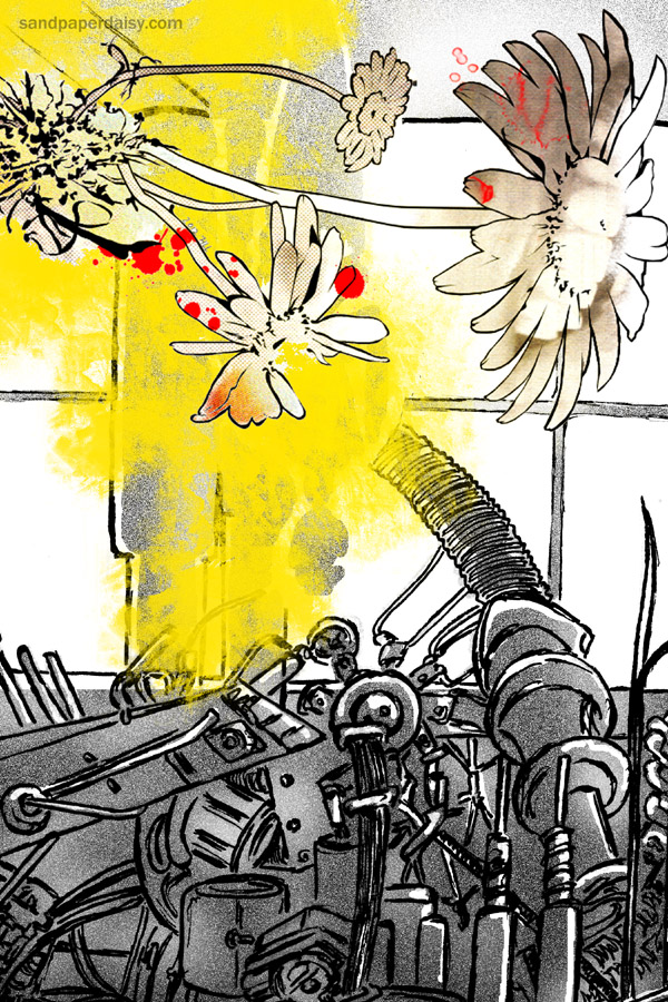A monstrous daisy hovers facing machinery