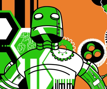 a majestic Tin Man Brewery robot stands in front of imagery of beer hops, polygons and gears