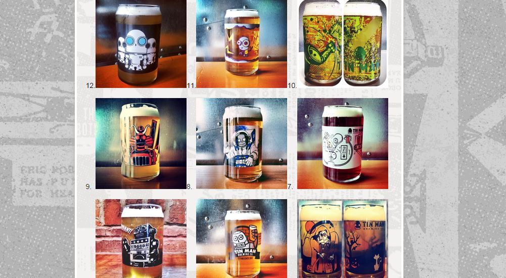 Illustrator glasses offered in the past by Tin Man Brewery in Evansville Indiana